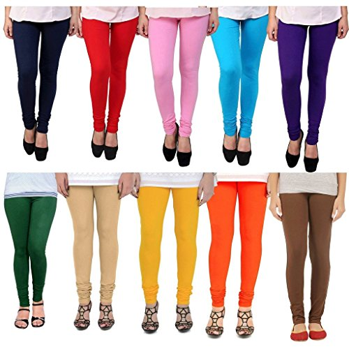 Superiya Women\'s Free Size Cotton Lycra Leggings Combo (Pack of 10)