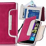 numia Nokia Lumia 635 Hülle, Handyhülle Handy Schutzhülle [Book-Style Handytasche mit Standfunktion und Kartenfach] Pu Leder Tasche für Nokia Lumia 635 Case Cover [Pink-Weiss]