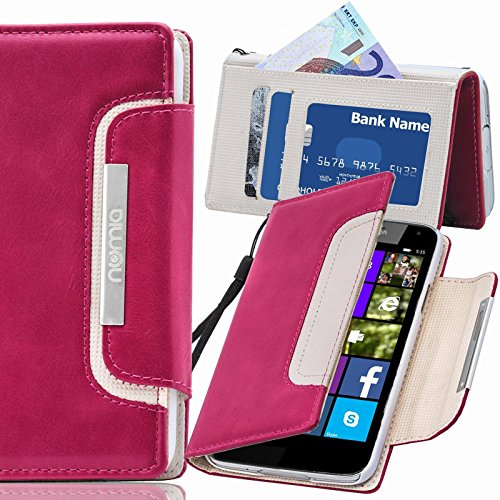 numia Nokia Lumia 735 Hülle, Handyhülle Handy Schutzhülle [Book-Style Handytasche mit Standfunktion und Kartenfach] Pu Leder Tasche für Nokia Lumia 735 Case Cover [Pink-Weiss]