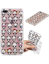 """Nadoli Transparent Hülle für iPhone 8 Plus / 7 Plus 5.5"""",Niedlich Panda Malerei Muster Crystal Kirstall Ultra Dünn Durchsichtige Schutzhülle Bumper,Niedlich Panda"""