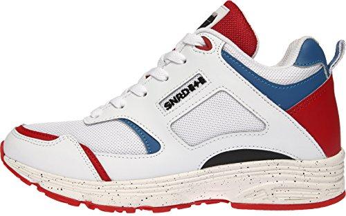 SNRD - 713 Particulièrement Casual mixte semelle élévateur Fashion Baskets - White Blue Red