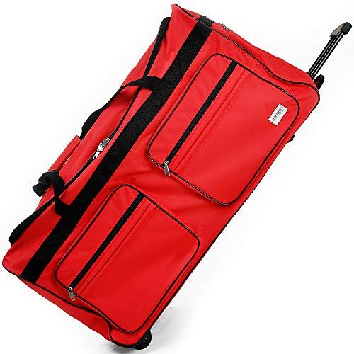 DEUBA XXL Reisetasche | mit Trolleyfunktion | Rollen mit Kugellager | Teleskopgriff | abschließbar 160 Liter in Rot Sporttasche Reisetrolley Gepäcktasche