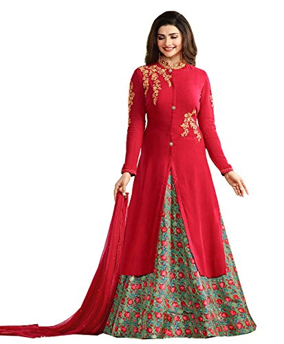 Stylish Fashion Prachi Desai Red Embroidered Designer Indo Western style Party Wear...
