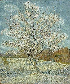 Wieco Art–la rosa melocotón árbol por Van Gogh famosos pinturas al óleo reproducción galería envuelto Giclée de paisajes, obras de arte moderno lienzo impresiones Classic fotos sobre Lienzo para el hogar decoración van-0012