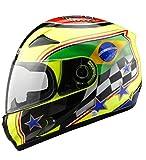 YOJDTD Equitazione equipaggiamento protettivo casco moto casco casco equitazione casco, fiore giallo fluorescente brasiliano_M