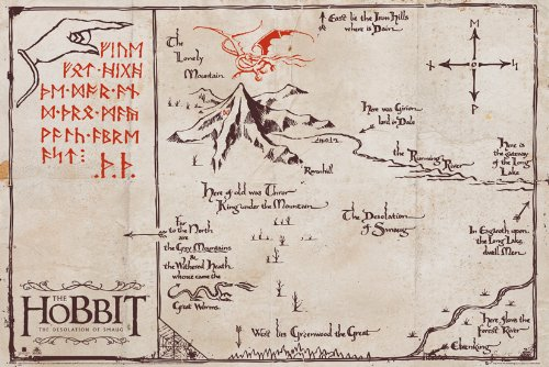 GB eye LTD, The Hobbit, Mappa de la montaña, Maxi Poster, 61 x 91,5 cm