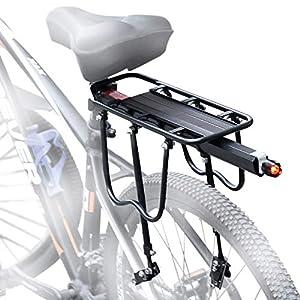 careslong Portabultos Bicicleta, Portaequipajes Bicicleta Ajustable Bicicleta Trasera Estante Capacidad de Carga máxima: 60 Libras Accesorios Bicicleta con Reflector