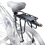 careslong Portapacchi Bici, Portapacchi Bicicletta Posteriore, Alluminio Portapacchi Anteriore Bici con Luminoso Fanale Posteriore Bici, 50kg Peso capacità
