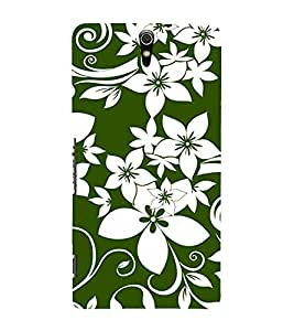 FIOBS amazing floral art green and white perfume flowers Designer Back Case Cover for Sony Xperia C5 Ultra Dual :: Sony Xperia C5 E5533 E5563