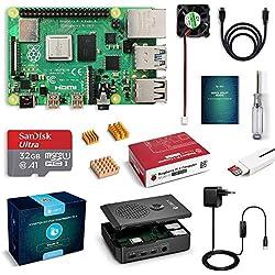 LABISTS Raspberry Pi 4 Modèle B(4 B)1Go RAM Starter Kit avec 32 Go Classe 10 Micro SD Carte, Boîtier Noir de Nouvelle Version,5,1V3A Alimentation Interrupteur Marche/Arrêt, Ventilateur,3 Dissipateurs