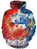 Loveternal Bär Pullover Herren Funny Hoodie 3D Druck Kapuzenpullover Langarm Sweatshirt für Frauen Männer mit Kordelzug XL