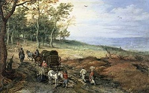 jan-brueghel-the-elder-a-wooded-landscape-with-travelers-artistica-di-stampa-6096-x-9144-cm