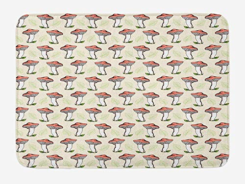 ZKHTO Mushroom Bath Mat, Vintage Hand Drawn Style Forest Mushrooms Falling Leaves Tasty Vegan Food, Plush Bathroom Decor Mat with Non Slip Backing, 23.6 W X 15.7 W Inches, Coral Green Cream -