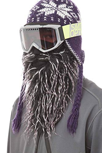 Beardski Skimaske mit Bart | Bartmütze Sturmhaube Sturmmaske | Purple Haze | Schwarz Lila