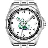 Personalisierte Herrenuhr, modisch, wasserdicht, Diamond_624.Grün Cartoon lächelnder Frosch Gesicht über Wasser
