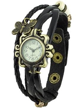 Damen Retro Leder Armbanduhr Schmetterling Quartz Strick Uhr Armreif Armband Schwarz