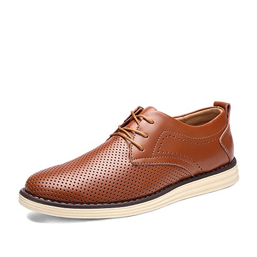 Männer Schuhe Mesh Oberfläche Breathable Leder Schuhe Rindsleder Casual Schuhe Young Business Schuhe deep brown