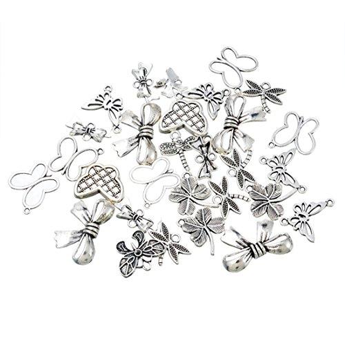 Souarts 1 Set Antik Silber Farbe Schmetterling Schmuckzubehör Basteln Charms Anhänger Für Halskette Armband 20St (20 Anhänger Halskette)