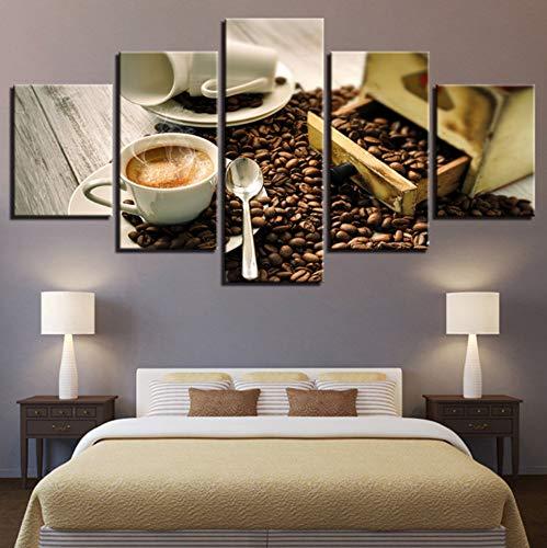 shiyusheng Kunst Poster ModerneWand Wohnkultur 5 Panel Kaffee Wohnzimmer Leinwand Kaffeebohnen HD Druck Malerei Modularen Bilder