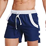 Herren Badehose Hosen Bademode Shorts Slim Wear Atmungsaktive Bikini Badeanzug (Asian Size:XXL, Schwarz)