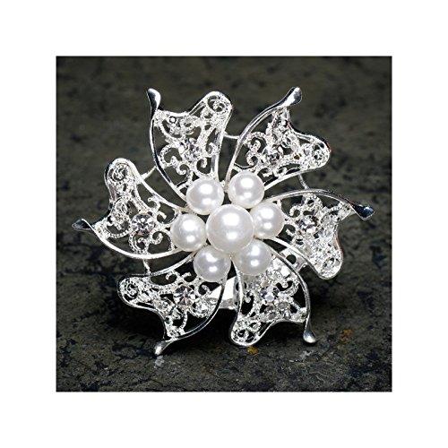 Club Green Brosche mit Perlen und Diamant, Silber, 60mm