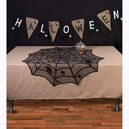 Big-Mountain Round Tischdecke, Halloween, Spiderweb Black Lace Spinne Party Tisch Dekor, Vorhang Tischlampe Deckel deckt Kamin Tuch Fenster (Schwarz)