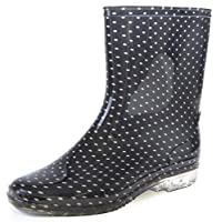 Octave® Ladies Short Black Spot/Polka Dot Print Wellington Boots