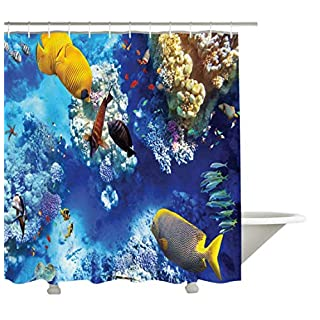 Yeuss Ocean Decor Collection,Wild Underwater Sea Animal Aquaworld with Corals Tropical Fishes and Stingray Egyptian Sea Picture,Polyester Fabric Bathroom Shower Curtain