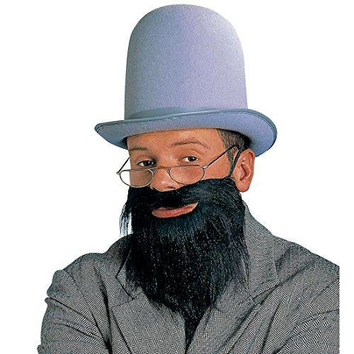 Rabbi Bart schwarz Rabbiner Vollbart Falscher Judenbart mit Schnurrbart Jude Herrenbart mit Mustache Amish Herren Kunstbart Religion Jüdischer Priester Faschingsbart Karneval Kostüm (Kostüme Priester Zubehör)