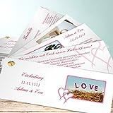Hochzeitseinladungen, Mein Herz 200 Karten, Kartenfächer 210x80 inkl. weißer Umschläge, Rot