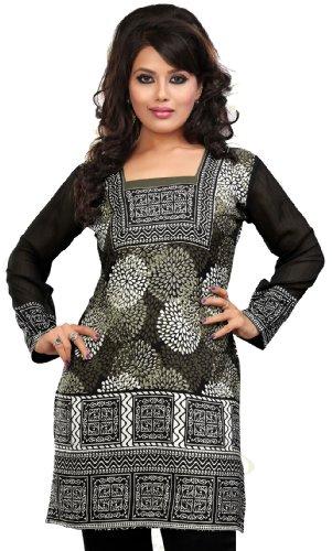 Indiano Lunghe Tuniche Kurti Top Womens India Abbigliamento (Grigio, XXXL)