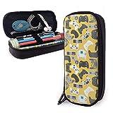 Astuccio portamatite in pelle PU con controller di gioco giallo Gamepad con doppia cerniera, astuccio per penne con scatola di cancelleria per ufficio a grande capacità