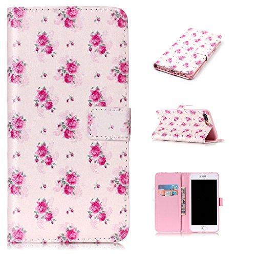 """MOONCASE iPhone 7 Plus Coque, [Live Your Dream] Modèle Housse Pochette en Cuir Etui à rabat portefeuille [Porte-cartes] TPU Case avec Béquille pour Apple iPhone 7 Plus 5.5"""" Rose"""
