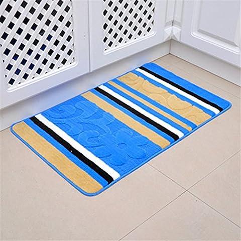 Kemai Ménage de salle de bain antidérapant en microfibre Tapis de bain Ensemble, bleu, 40x60