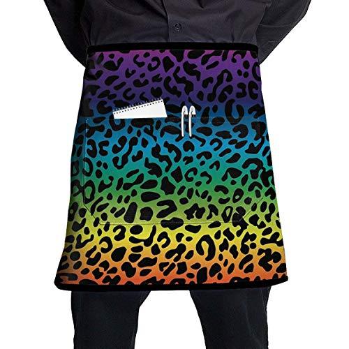 Waterproof Kitchen Apron Pockets Waist Apron Restaurant Half Aprons Bartender Apron Money Apron Waitresses Apron Kitchen Apron - Rainbow Colorful Leopard Print -