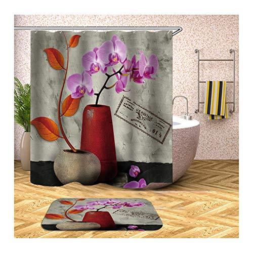 Daesar Badematten Dusche rutschfest 40x60 Blumen in der Vase Duschvorhang 180x180 cm, Badematten im 2 Set -