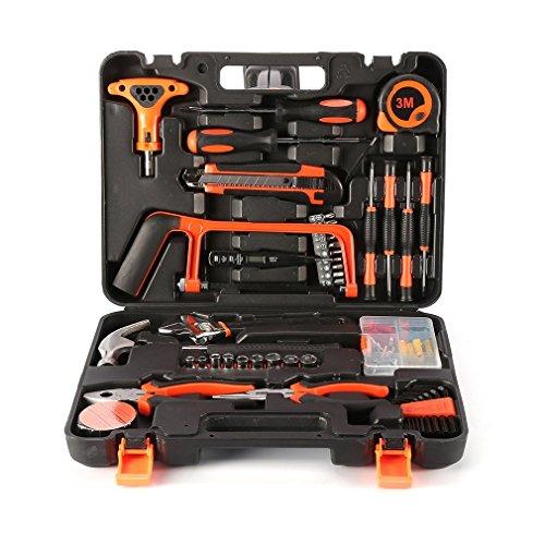 LESHP Haushalts Werkzeugkoffer 82 teiliger Werkzeug Metallkonstruktion Hohe Qualität Werkzeugtasche Tool Kit Werkzeugset Werkzeugkiste Werkzeugwagen