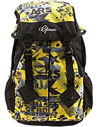 GLEAM Trendy Multicolour School Bag with Hood Pocket (Yellow & Black)