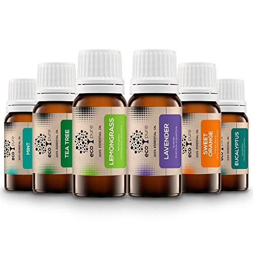 ECO PURE`s Reine Ätherische Öle Set TOP 6 | Duftöle für Diffuser, Massage und Aromatherapie, 100% Naturrein (Lavendel, Teebaum, Eukalyptus, MInze, süße Orange, Zitronengras) Geschenk-Set -