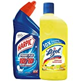Harpic Powerplus Disinfectant Toilet Cleaner, Original - 500 ml + Lizol Disinfectant Floor Cleaner, Citrus - 500 ml