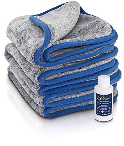 Petzoldt\'s 3-zum-Preis-von-2 Petzoldts Premium Microfaser-Poliertuch Superflausch 3.1 mit 50 ml Spezial Waschmittel für Fahrzeugpflege-Microfasertücher