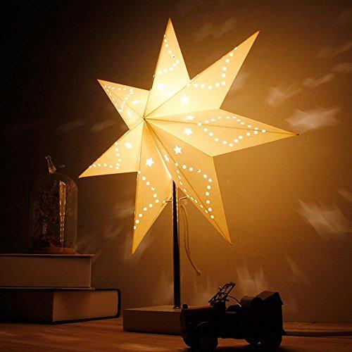 DENG Lámpara de Mesa, IKEA, Dormitorio, lámpara de cabecera, Moderno, Simple, Lactancia, luz de la Noche, Papel, Interruptor de botón, luz de Estrella, Blanco