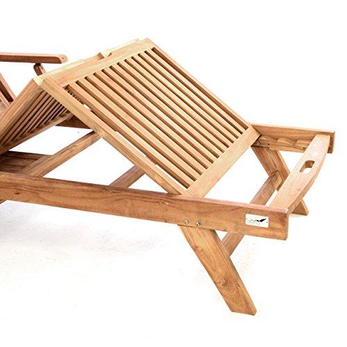 DIVERO GL05660 Mehrfach verstellbare Sonnenliege Gartenliege Relaxliege Liege Holzliege Teak Holz mit Armlehnen Tablett für Garten Terrasse Balkon Sauna witterungsbeständig