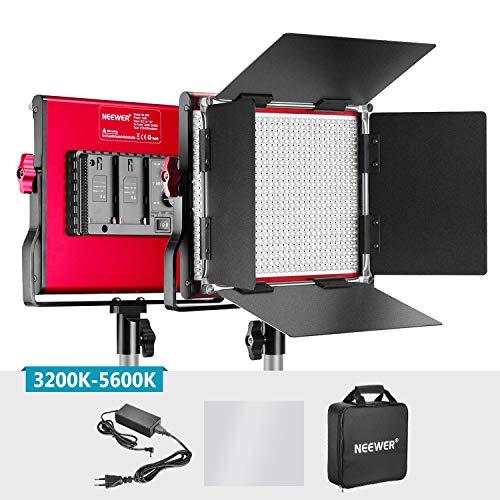 Neewer Professionell Metallische Bi-Farbe LED-Videoleuchte für Produktfotografie Videoaufnahmen, langlebiges Metallrahmen, dimmbare 660 Perlen, mit U Halterung und Barndoor, 3200-5600K, CRI 96+ (Rot) 1 Barndoor Kit