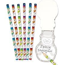 Ensemble de crayons au motif bonhommes de neige joyeux, à glisser dans les chaussettes et les pochettes-surprises des enfants pour les fêtes de fin d'année (Lot de 8).