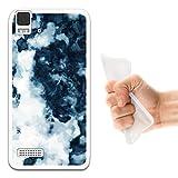 WoowCase Bq Aquaris E4 Hülle, Handyhülle Silikon für [ Bq Aquaris E4 ] Weißer und Blauer Marmor Handytasche Handy Cover Case Schutzhülle Flexible TPU - Transparent
