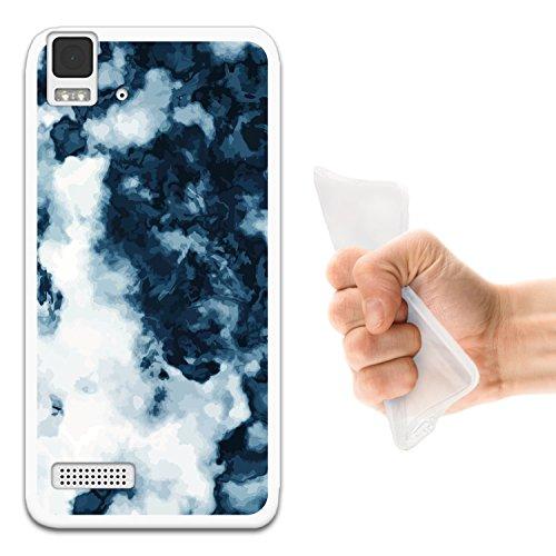 WoowCase Bq Aquaris E4 Hülle, Handyhülle Silikon für [ Bq Aquaris E4 ] Weißer & Blauer Marmor Handytasche Handy Cover Case Schutzhülle Flexible TPU - Transparent