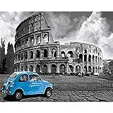 Sin Pintura Roma sin Marco DIY by Numbers Landscape Vintage Pintura de Pared Pintura acrílica sobre Lienzo para Sala de Estar 40X50Cm