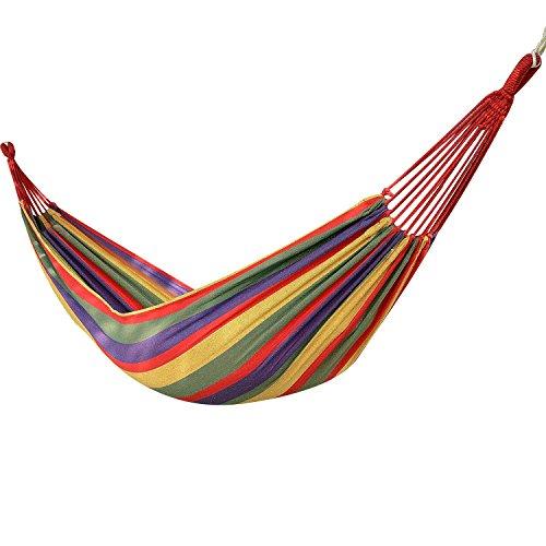 logei® Hängematte Einzel, Outdoors Camping Garten Strand Reise Leinwand Aufhängen 200 x 80 cm, Belastbarkeit bis 100 kg bunte Schlieren