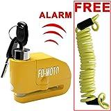 FD-MOTO LK603 Alarm Disc Lock Motorbike Bike Bicycle Disc Lock ALARM + Free Reminder Cable